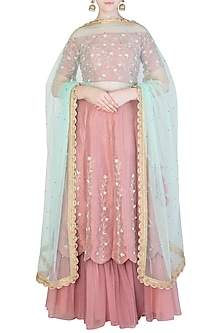 Nude Pink Embroidered Lehenga Set by Amota by Priti Sahni
