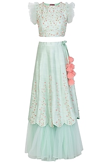 Mint Green and Peach Embroidered Lehenga Set