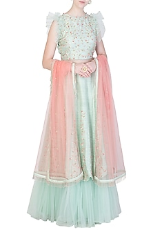 Mint Green and Peach Embroidered Lehenga Set by Amota by Priti Sahni