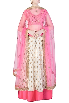Candy Pink and Off White Embroidered Lehenga Set by Amota by Priti Sahni