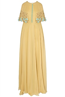 Yellow Anarkali with Cape and Leggings by Amota by Priti Sahni
