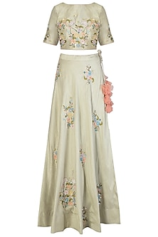 Dust Green Embroidered Lehenga Set