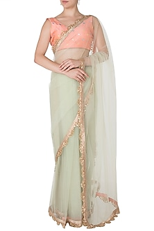 Dust Green and Peach Embellished Saree with Blouse by Amota by Priti Sahni
