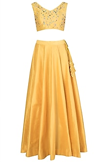 Mustard and Yellow Embroidered Lehenga Set