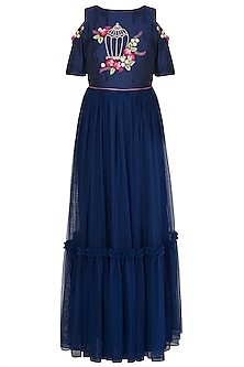 Navy Blue Embroidered Anarkali Gown