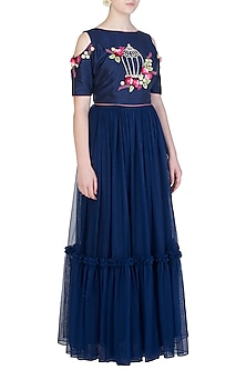 Navy Blue Embroidered Anarkali Gown by Amota by Priti Sahni