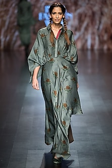 Green Printed Asymmetric Kimono Dress by Pinnacle by Shruti Sancheti
