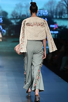 Azure blue embroidered pants by Pinnacle By Shruti Sancheti