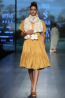 Mustard lace dress by Pinnacle By Shruti Sancheti