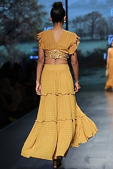 Mustard embroidered crop top with skirt
