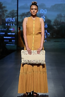 Mustard gathered maxi dress by Pinnacle By Shruti Sancheti