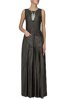 Grey Gathers Detail Maxi Dress by Pinnacle By Shruti Sancheti