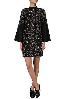 Black Floral Embroidered Bell Sleeves Dress by Pinnacle By Shruti Sancheti