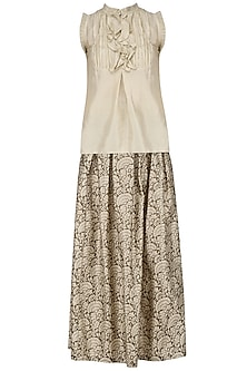 Ivory Frill Top and Printed Skirt Set