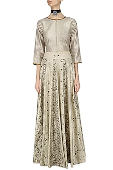 Ivory Stripe Print Crop Top and Skirt Set by Pinnacle By Shruti Sancheti