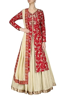 Red Cracker Print Kurta and Beige Skirt Set by Pinnacle By Shruti Sancheti