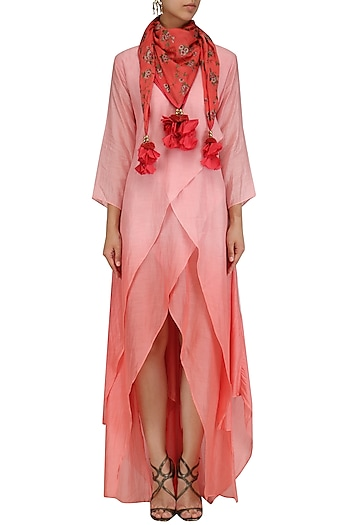 Pink Layered High Low Tunic with Tassel Hanging Scarf by Pinnacle By Shruti Sancheti