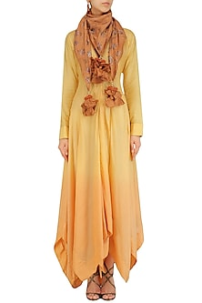 Yellow Ombre Dip Dyed Asymmetrical Tunic with Orange Silk Scarf by Pinnacle By Shruti Sancheti