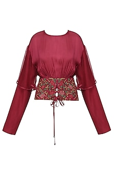 Red Embroidered Crushed Sleeves Top