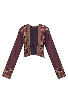 Maroon Crop Jacket with Tassel Detailing by Pinnacle By Shruti Sancheti
