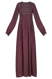 Beetroot Anchored Yoke Maxi Dress