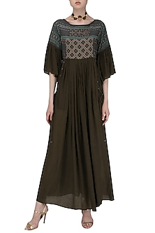 Brown Block Printed Embroidered Maxi Dress by Pinnacle By Shruti Sancheti