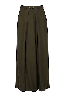 Brown Pleated Palazzo Pants