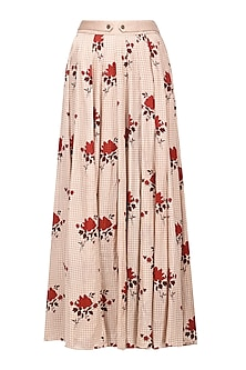 Blush Pink Floral Embroidered Maxi Skirt