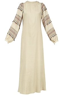 Beige Block Printed Checked Maxi Dress
