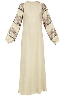 Beige Block Printed Checked Maxi Dress by Pinnacle By Shruti Sancheti