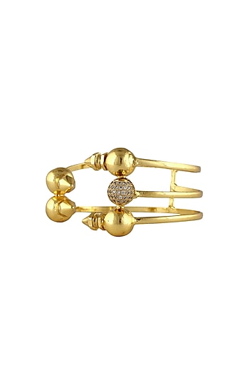 Gold plated swarovski crystals 3 tier adjustable bracelet by Prerto