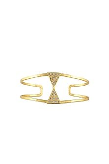 Gold plated swarovski crystals triangle adjustable bracelet by Prerto