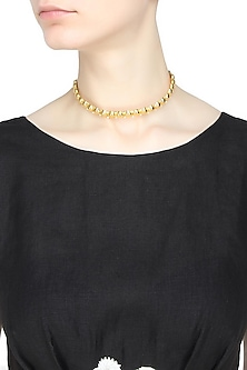 Gold plated swarovski crystals choker necklace