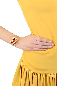 Gold plated red rumi bracelet