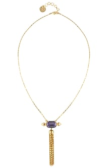Gold plated purple sway pendant necklace by Prerto