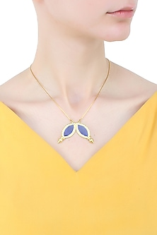 Gold plated navy poiting petals necklace by Prerto