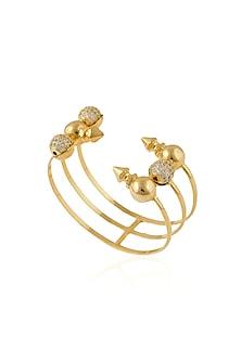 Gold Plated Swarovski Element 3 Tier Zosia Bracelet by Prerto