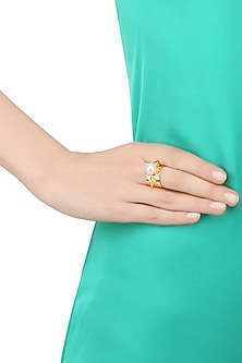 Gold Plated Pearl Bullet Adjustable Ring by Prerto