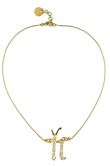 "Gold Plated Customised Alphabet ""H"" Pendant Necklace by Prerto"