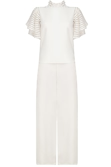 White Frill Sleeves Top and Pants Set