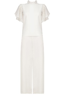 White Frill Sleeves Top and Pants Set by Platinoir