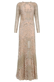 Blush Mosaic Embroidered Fringed Gown