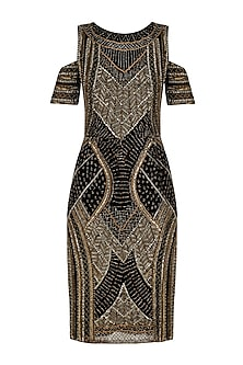 Dark Taupe Aztec Embroidered Cold Shoulder Dress