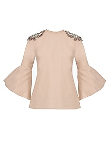 Dusty Blush Flounce Sleeves Embellished Top