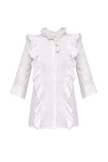 Off White Ruffle Detail Top