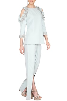 Light Blue Embroidered Cold Shoulder Top WIth Slit Pants by Platinoir