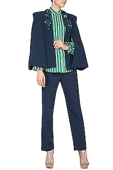 Navy Blue Embroidered Cape With Pants & Striped Shirt by Platinoir