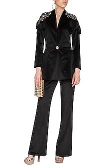 Black Embroidered Velvet Peplum Blazer With Pants by Platinoir