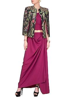 Pink Embroidered Printed Jacket With Crop Top & Draped Skirt by Platinoir