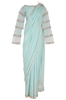 Aqua Embroidered Saree With Blouse & Petticoat by Platinoir